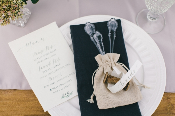 Calligraphy on Spool at Place Setting