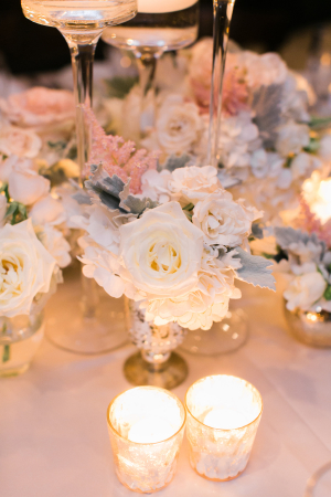 Centerpiece of Roses and Dusty Miller