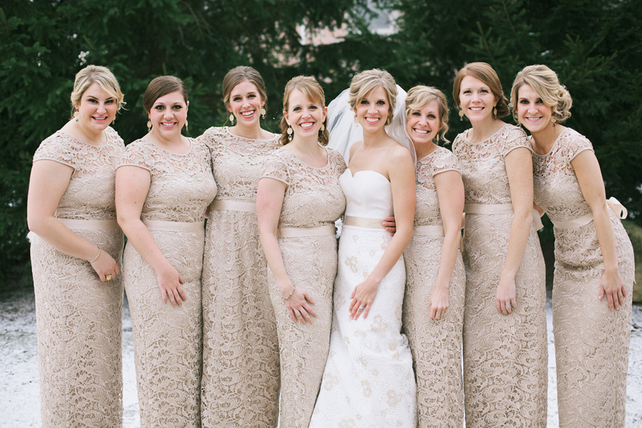 Champagne Lace Winter Bridesmaids Dresses - Elizabeth Anne Designs ...