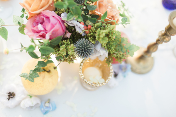 Colorful Centerpiece with Gold Candles