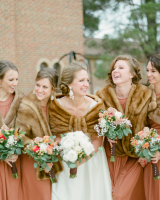 Fur Shrugs Over Winter Bridesmaids Dresses