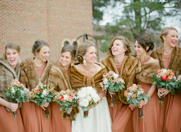 Fur Shrugs Over Winter Bridesmaids Dresses