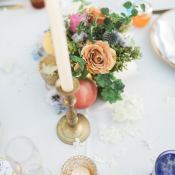Gold Orange Coral Wedding Table