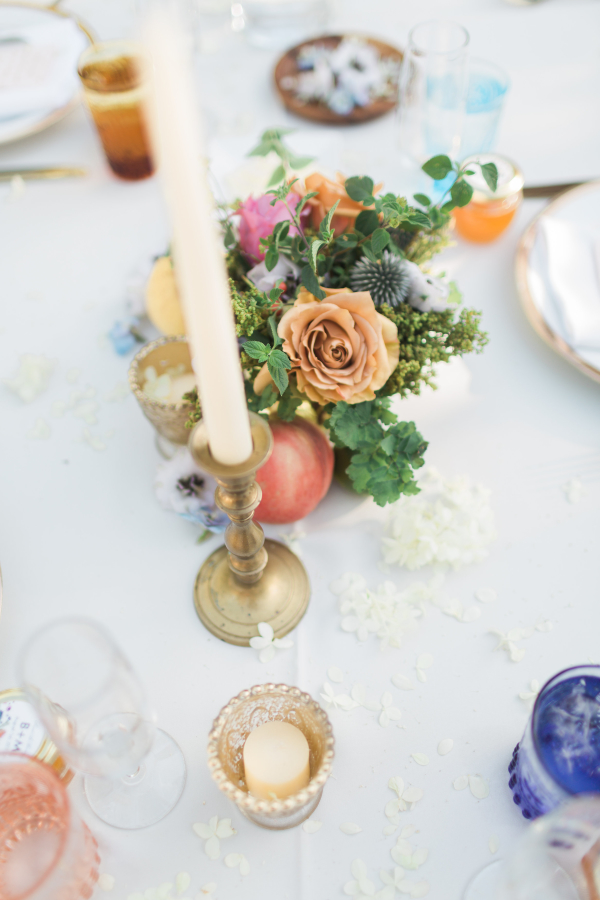 Gold Orange Coral Wedding Table