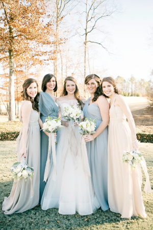 Pale Blue and Ivory Winter Bridesmaids