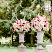 Pink and Red Wedding Ceremony Flowers
