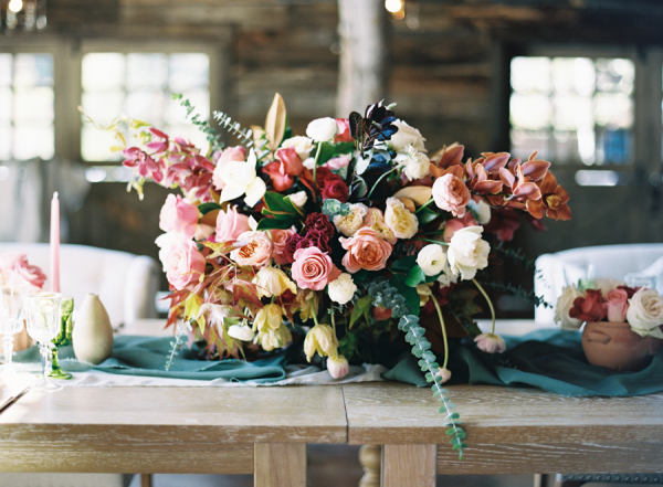 Red and Teal Centerpiece