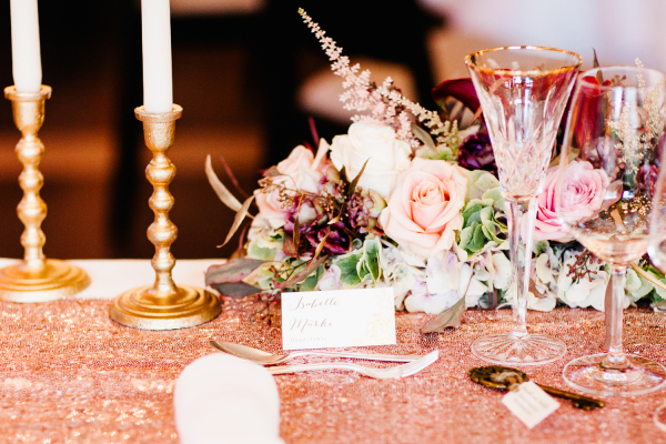 Rose Gold Sequin Wedding Table