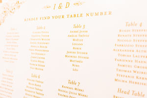 Seating Chart in Gold Ink