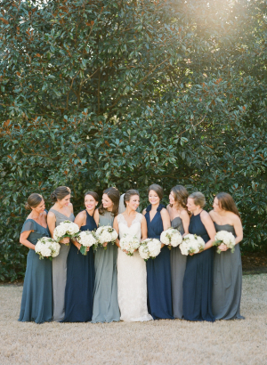 Shades of Blue Bridesmaids Dresses