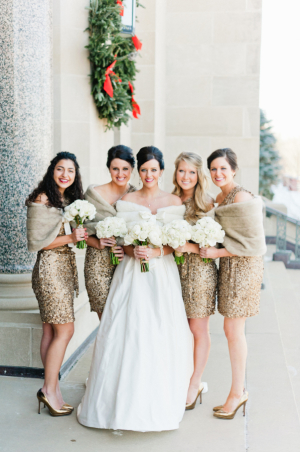 Short Sparkly Gold Winter Bridesmaids Dresses