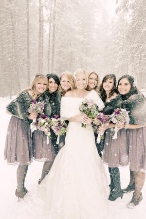 Snowy Winter Bridesmaids