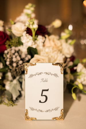 Table Number with Gold Frame