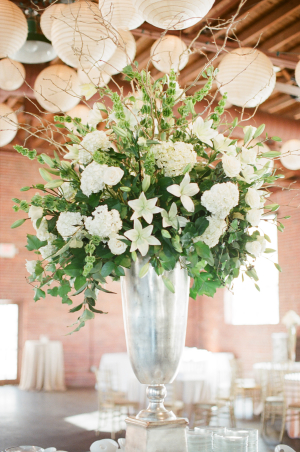 Tall Green and White Centerpiece