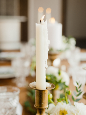 Taper Candle in Gold Candlestick