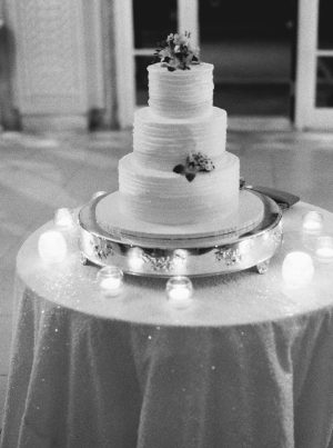 Wedding Cake on Silver Stand