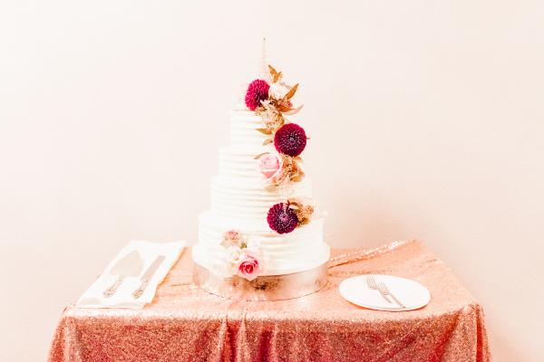Wedding Cake with Garnet Flowers