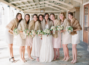 Winter Bridesmaids In Neutral Dresses and Fur Stoles
