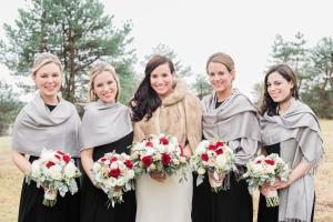 Winter Bridesmaids in Pashminas