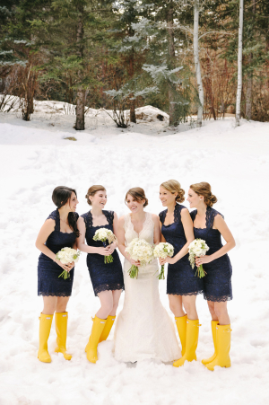 Winter Bridesmaids in Yellow Snow Boots