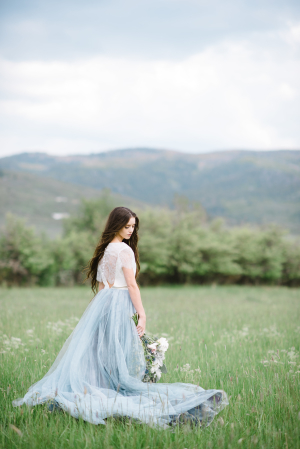 Blue Tulle Skirt for Bride