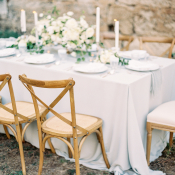 Blue and White Castle Wedding