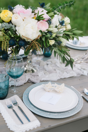 Blue and White Rustic Wedding Table
