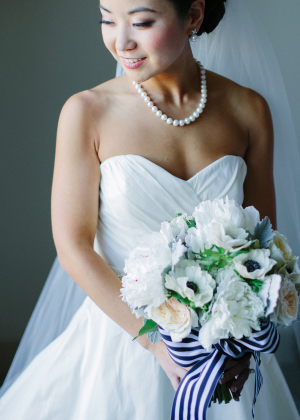 Bouquet with Striped Ribbon