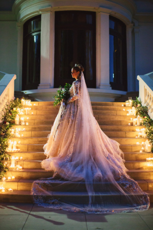 Bridal Portrait on Stairs with Candles