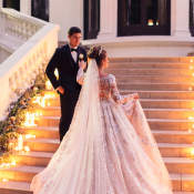 Bride and Groom Dramatic Staircase Photo