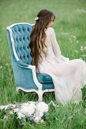 Bride in Blue Velvet Chair