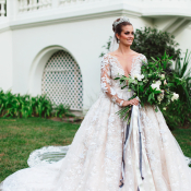 Bride in Dramatic Ysa Makino Gown