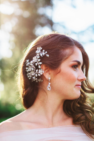 Bride with Crystal Hair Comb