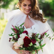 Bride with Tulle Wrap