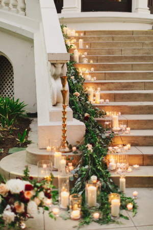 Candle and Garland on Staircase