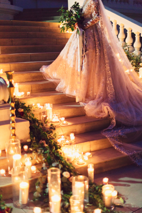 Elegant Bride on Staircase