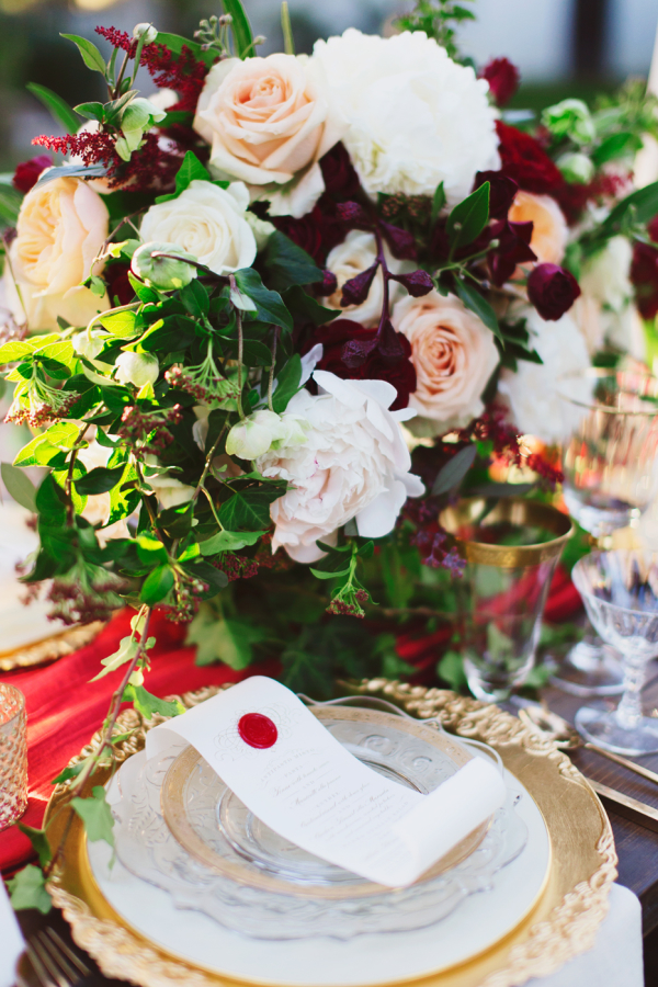 Elegant Red and Gold Wedding Inspiration