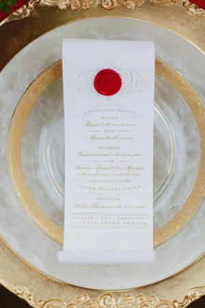 Elegant Scroll Wedding Menu
