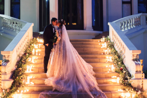 Elegant Wedding Photo on Staircase