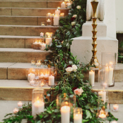 Garland and Candles on Stairs