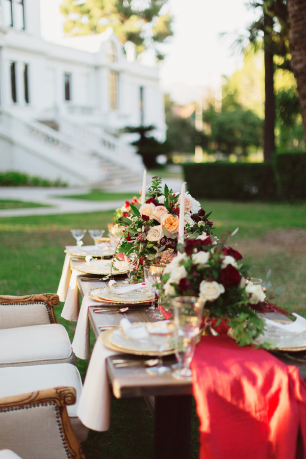 Gold and Red Winter Wedding Outdoor