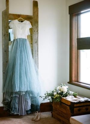 Handpainted Blue Wedding Dress