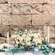 Ivory and Blue Centerpiece