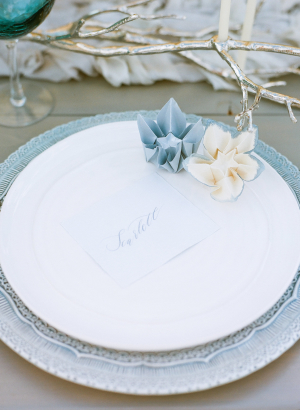 Pale Blue and White Place Setting