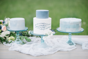 Pale Blue and White Wedding Cakes