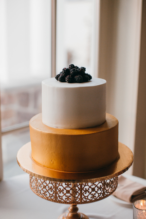 Petite Gold and White Wedding Cake