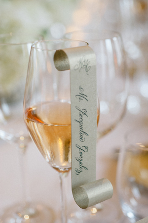 Place Card Scroll on Glass