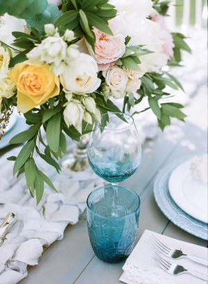 Rustic Blue and White Wedding Table