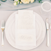 Silver and Blue Wedding Place Setting