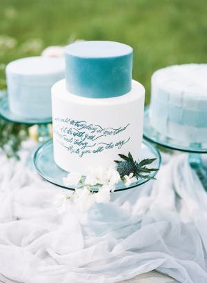 Wedding Cake with Blue Calligraphy
